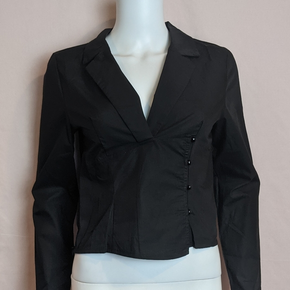 PrettyLittleThing Button Side Black Blouse